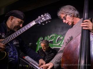 3 of Visions: Bebo Ferra, guitar; Paolino Dalla Porta, bass; Fabrizio Sferra, drums